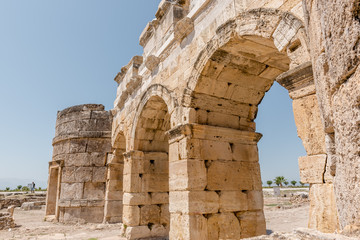 The Byzantine Gate at Hierapolis ancient city in Pamukkale, Turkey.