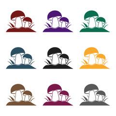 Fototapete - Mushroom icon in black style isolated on white background. Plant symbol stock vector illustration.
