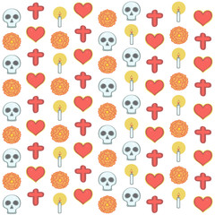 Colorful pattern in Mexican Day of the Dead style with religious ornaments and flowers, vector illustration on white background