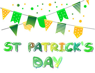 Banner for St Patricks Day with flags and balloons