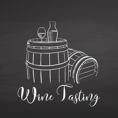 Wine Tasting symbol and lettering on chalkboard