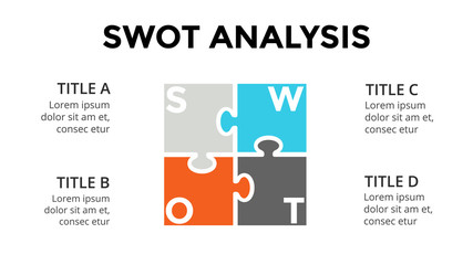 Vector SWOT analysis square puzzle infographic, cycle diagram, graph, presentation chart. Business concept with 4 options, parts, steps, processes. 16x9 slide template.