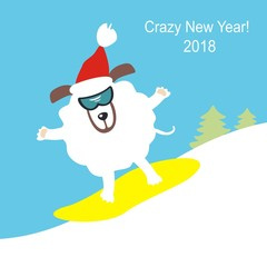 A dog on a snowboard. Symbol of the year 2018. Happy New Year and Merry Christmas! Greeting card. Vector illustration.