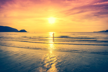 Fototapete - Landscape of colorful sky with sunlight over seascape. Serenity nature background,