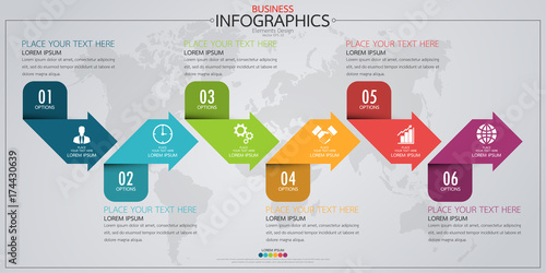Infographic Business Horizontal Timeline Process Chart Template