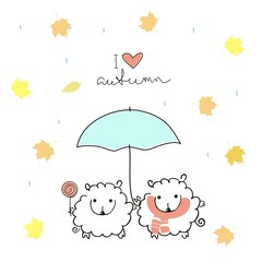 "Two cute sheep under an umbrella with a handwritten inscription ""I love autumn"" on a white background with rain and maple leaves. Autumn illustration. Doodle art"
