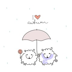 "Two funny sheep under an umbrella with a handwritten inscription ""I love autumn"" on a white background with rain. Autumn illustration. Doodle art"