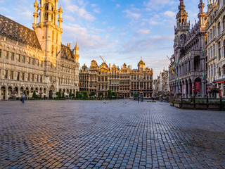 Morning view of the Grand Place in Brussels, Belgium.