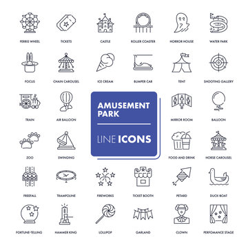 Line icons set. Amusement park