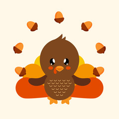 cute turkey with acorns