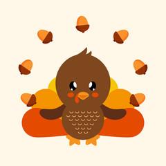 cute turkey with acorns