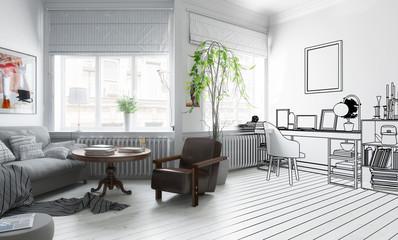Möbliertes Wohnzimmer (Plan)