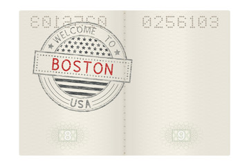 Open passport with Welcome to Boston stamp