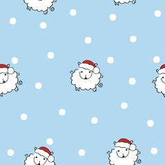 Christmas seamless pattern with sheep in hats of Santa Claus and snowflakes. Doodle art.