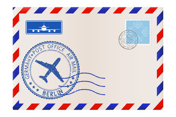 Envelope with BERLIN stamp. International mail postage with postmark and stamps