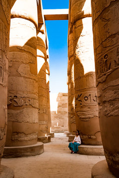 Columns near ancient temple in Luxor, Egypt