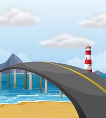 Scene with bridge over the ocean