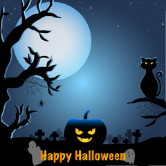 Vector and illustration of cool Halloween theme with full moon light and silhouette and blue color rimlight of Halloween pumpkin lantern, black cat, cementery and dead tree