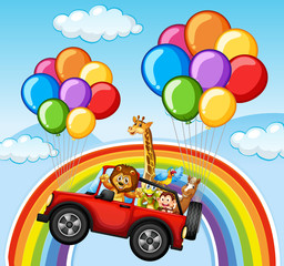 Wild animals in jeep over the rainbow