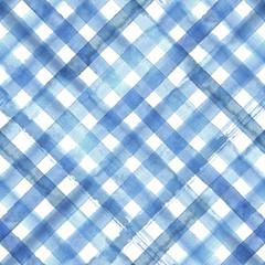 Blue diagonal plaid seamless pattern