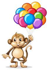Cute monkey with colorful balloons