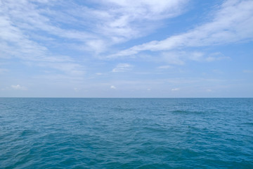 Sea and sky on daytime, Seascape of the Gulf of Thailand, in the East, Thailand, Eastern Thailand There are famous tourist attractions such as Koh Samet and Koh Chang, etc.