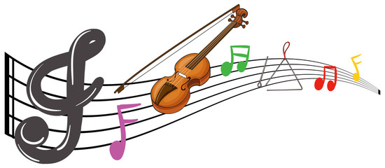 Violin and music notes on white background
