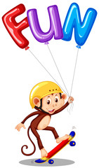 Monkey with balloon for word fun