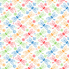 dragonfly colorful pattern background