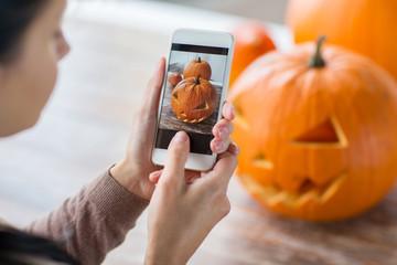 close up of jack-o-lantern or halloween pumpkin