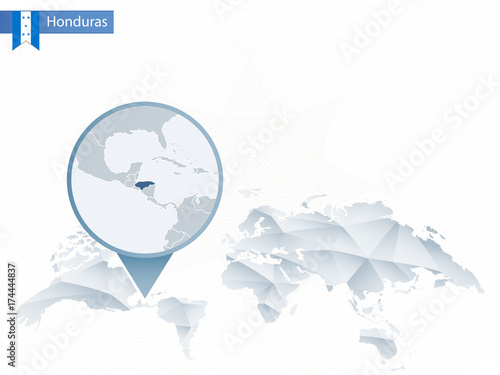 Abstract rounded World Map with pinned detailed Honduras map.\