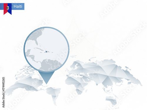 Haiti On Map Of World.Abstract Rounded World Map With Pinned Detailed Haiti Map Stock