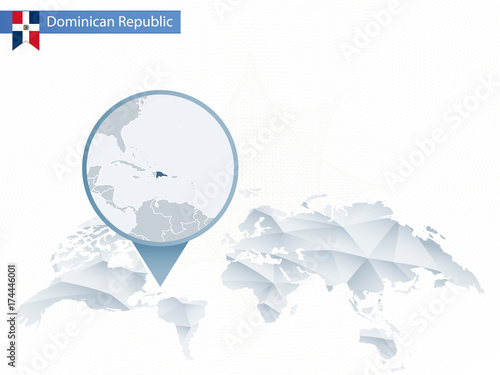 Abstract rounded World Map with pinned detailed Dominican ... on peru on map, venezuela on map, dominica on map, italy on map, cuba on map, denmark on map, argentina on map, lebanon on map, mexico on map, spain on map,