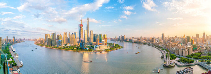 Aluminium Prints Asian Famous Place View of downtown Shanghai skyline