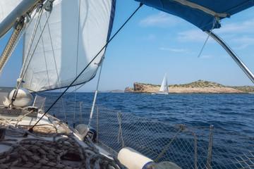 On the Sailboat in Adriatic Sea near the Kornati Islands National Park, Dalmatia, Croatia
