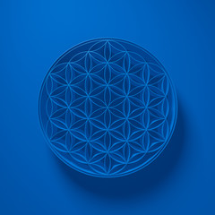 3D Illustration - Flower of Life Sign with light above on blue background