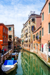Poster Channel Beautiful view of water street and old buildings in Venice, ITALY