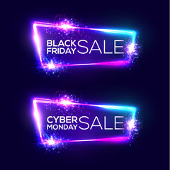Black friday sale. Cyber monday sale. Neon background. Holiday shopping sign with flares and sparkles. Night club electric techno frame with explosion and light. 3d discount bokeh vector illustration.
