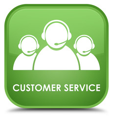 Customer service (team icon) special soft green square button