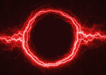 Red circle lightning with copy space in the middle