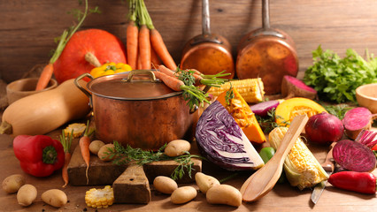 Fotobehang - casserole with raw food for soup