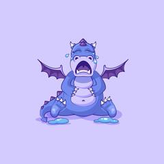 Vector Emoji character cartoon dragon dinosaur crying, lot of tears sticker emoticon