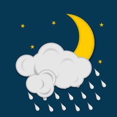 Moon with stars clouds and raindrops on dark blue background. Weather icon. Vector illustration