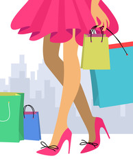 Woman in a red skirt and high heel shoes with shopping bags. Concept of sale