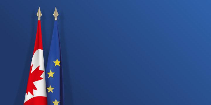 drapeau - Canada - Europe - canadien - européen - CETA - accord - présentation - fond