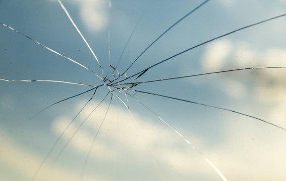 crack on the auto glass as a background