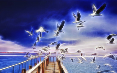 flock of seagulls flying from a dock to the sea