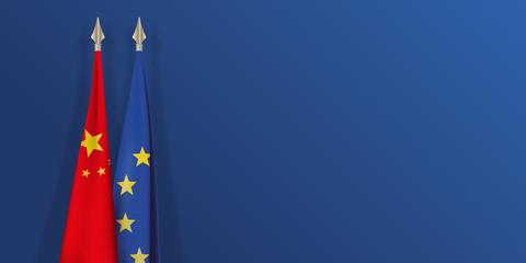 drapeau - Chine - Europe - chinois - européen - présentation - fond - économie