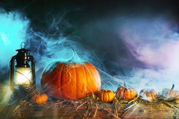 Halloween concept with pumpkins under spider web