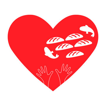 Vector illustration of Gospel story: Feeding the multitude, or the Feeding of the 5,000, with Jesus miracle of the five loaves and two fish. Heart shape, hands, 5 breads and 2 fish. Charity sign.
